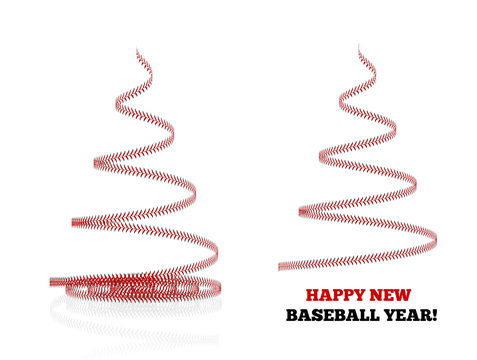 Christmas tree twisted in the form of lacing from a baseball. 3d illustration on a white