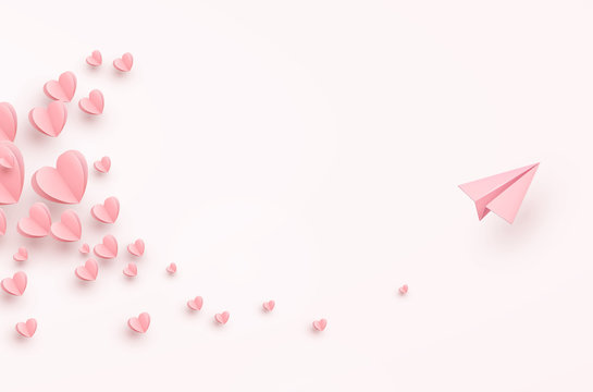 Hearts with plane postcard. Paper flying airplane on pink background. Vector symbols of love for Happy Women's, Mother's, Valentine's Day greeting card design.