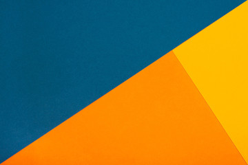 Abstract geometric paper background. Trendy blue and orange colors, active lines. Fototapete