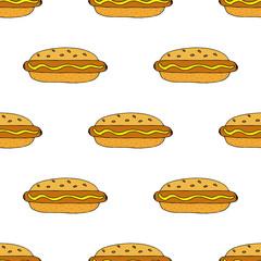 Hot dog. Seamless pattern. hand drawn vector illustration.