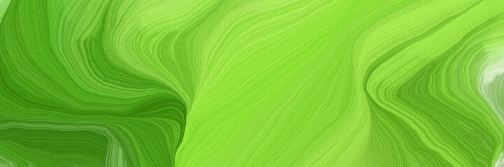horizontal banner with waves. elegant curvy swirl waves background illustration with moderate green, forest green and green yellow color