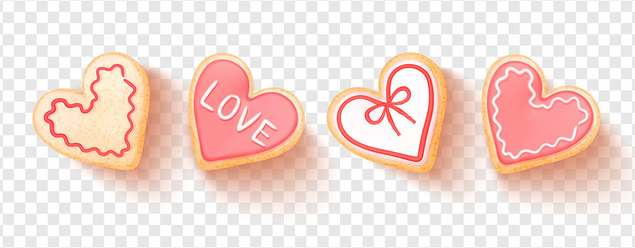 Set of heart shaped cookies isolated on transparent background.Vector illustration