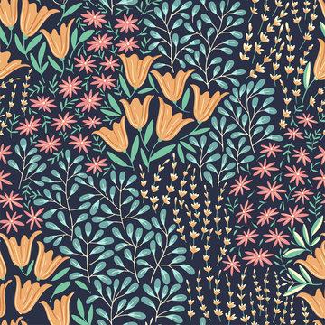 Seamless Wild Flowers Pattern