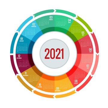 Colorful round calendar 2021 Calendar, Week Starts Sunday. Portrait Orientation. Set of 12 Months. Planner for 2021 Year.