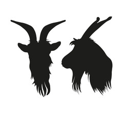 Silhouettes of goat head portrait front and side.