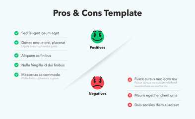 Simple infographic for pros and cons with funny emoji symbols. Easy to use for your website or presentation isolated on light background.pros-cons-template Fotobehang