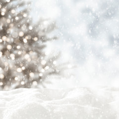 Foto auf AluDibond Weiß Winter background of snow and free space for your decoration.Xmas tree and frost with ice.