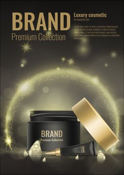 Cosmetic cream realistic template product package gold vector 3d mock up diamond advertising illustration.