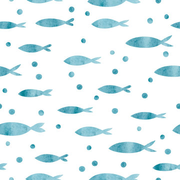 Seamless sea pattern with watercolor fish silhouettes.