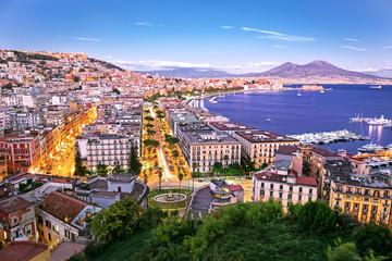 Foto auf Acrylglas Südeuropa Panoramic scenic view of Naples at night, Campania, Italy