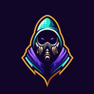 Gas mask sport e-sport mascot gaming logo template