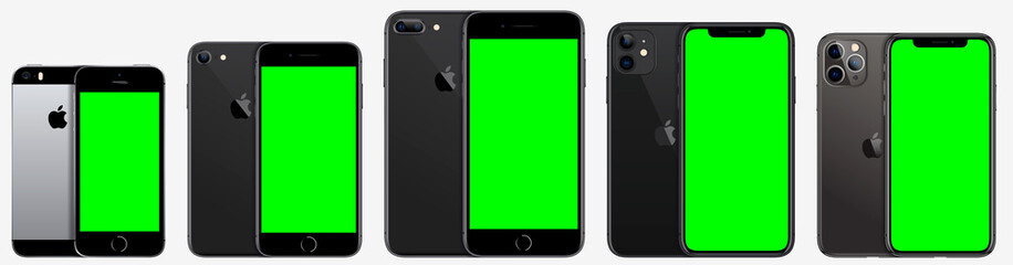 Collection iPhone Apple Inc. Mock-ups, screens iPhone with chromakey screen for your special effects, and back side phone. Vector EPS10