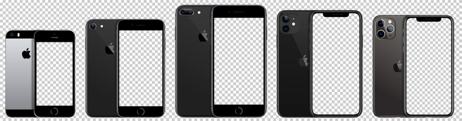 Collection iPhone Apple Inc. Mock-ups, screens iPhone with blank screen for you design, and back side phone. Vector EPS10