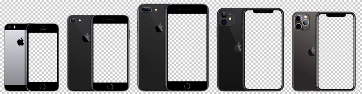 Collection smartphone Apple Inc. Mock-ups, screens Phone with blank screen for you design, and back side phone. Vector EPS10