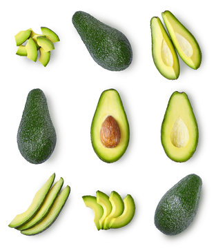 Set of avocado isolated on white background. Top view.