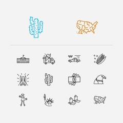 Usa icons set. Statue of liberty and usa icons with white house, cheerleader and corn. Set of fresh for web app logo UI design.