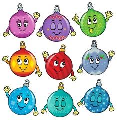 Deurstickers Voor kinderen Happy Christmas ornaments theme image 6