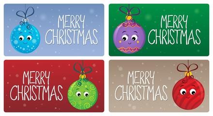 Deurstickers Voor kinderen Merry Christmas theme cards 2