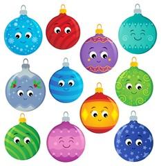 Deurstickers Voor kinderen Stylized Christmas ornaments theme set 2