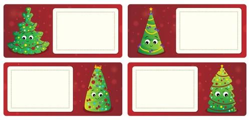 Deurstickers Voor kinderen Stylized Christmas theme cards 1