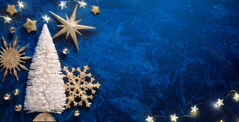 Art Christmas background with Christmas Tree and silver star. New Year's decor. Holidays greeting card, frame, banner.