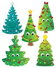 Deurstickers Voor kinderen Stylized Christmas trees collection 2