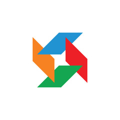 Poster Geometric animals circle colorful paper card symbol logo vector