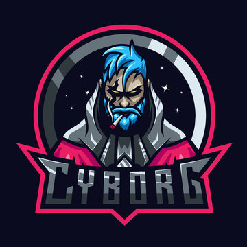Cyborg fighter sport e-sport mascot gaming team logo vector premium
