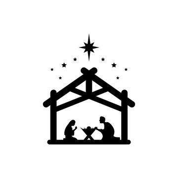 Jesus Christ was born symbol sign. Mary and Joseph bowed to the newborn Savior in a stable. Vector EPS 10