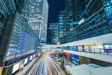 Evening view of the city streets. Central District. Hong Kong.
