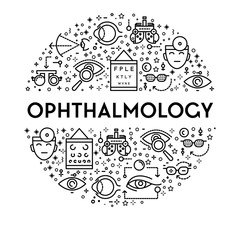 Ophthalmology banner with eyesight testing linear icons set in circle