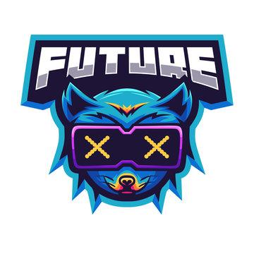 Fox futuristic sport e-sport mascot gaming team logo vector premium