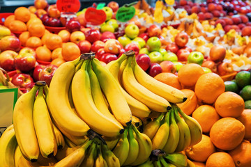 Heap of assorted organic fruits on the market stal