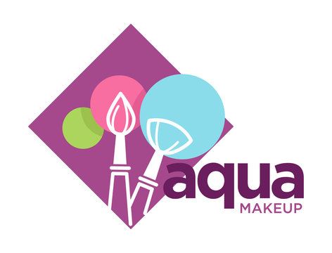 Aqua makeup logo with cosmetic brushes and round color patches