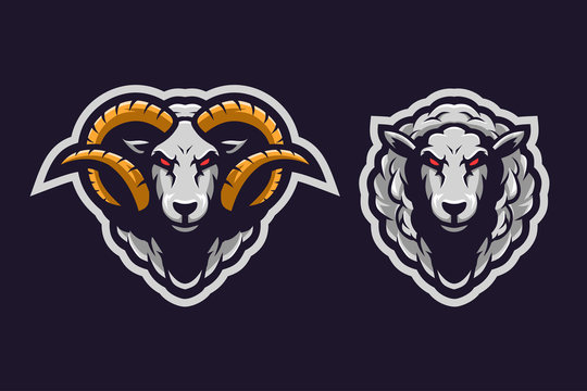 Sheep sport e-sport mascot gaming team logo vector premium