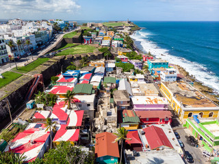 Aerial Drone Photo of La Perla in Old San Juan Puerto Rico