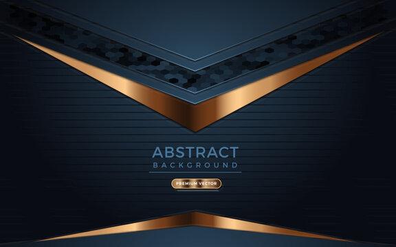 Dark navy background with golden lines.  Modern Geometric Illustration vector.