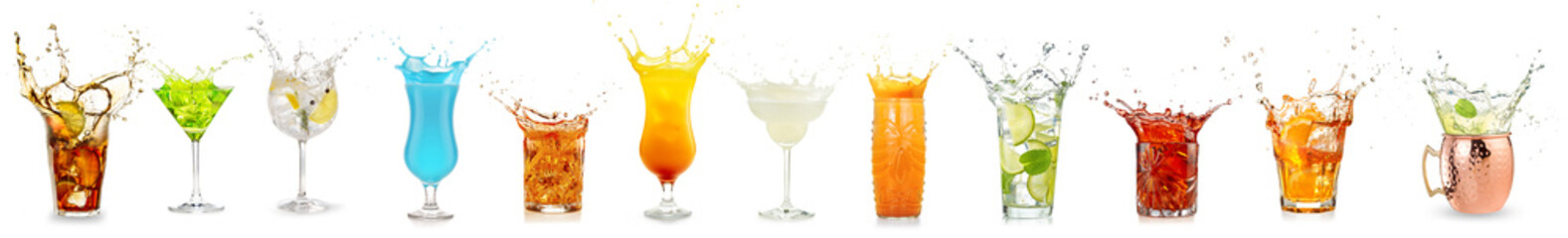 Wall Mural - splashing cocktails collection isolated on white background