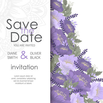 Floral wedding template - purple floral card
