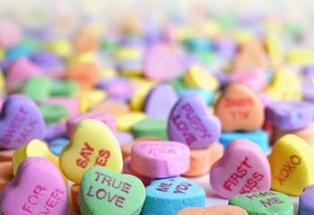 candy hearts on a white background