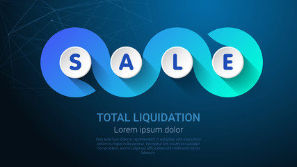 SALE - Business Concept with Big Word or Text. Blue Trendy Tamplate for Web Banner or Landig Page. Vector Illustration.