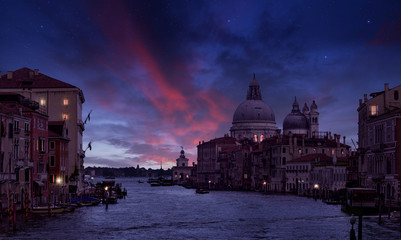 Grand Canal and Santa Maria della Salute in the twilight, Venice, Italy