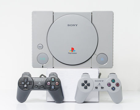london, england, 07/05/2018 An original sony playstation console from 1994. PS1 retro video game console. clean immaculate vintage console. Sonys game hardware unit isolated on a white background.