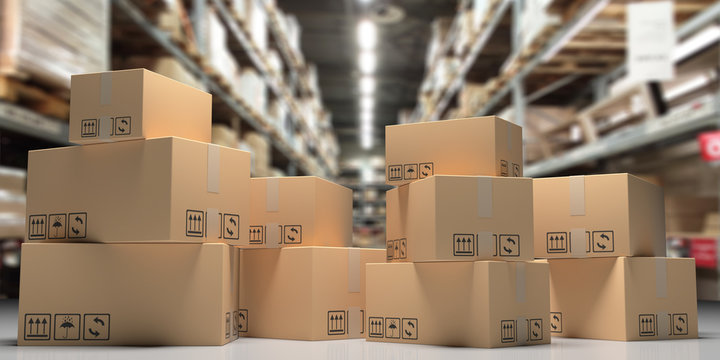 Cardboard boxes on blur storage warehouse shelves background. 3d illustration