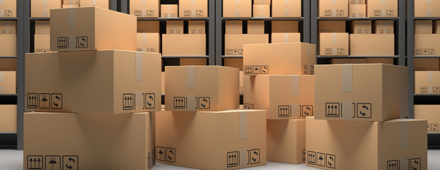 Cardboard boxes on warehouse storage shelves background. 3d illustration