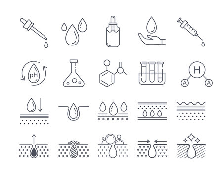 Black and white skin care and beauty cosmetics icons set. Vector illustration