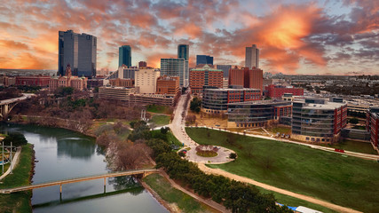 Aerial of Downtown Fort Worth at Sunset