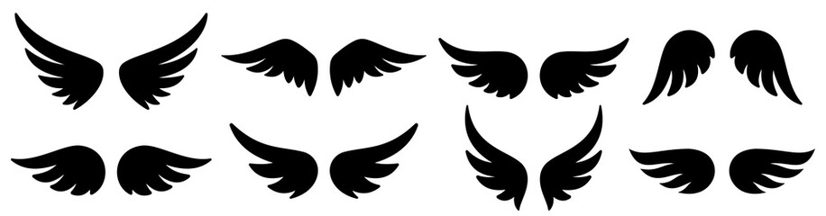 Wings icons set. Wing logo. Vector Wall mural