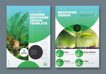 Business Report Cover Layout Set with Gradient Circle Elements