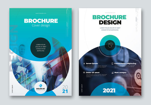 Business Report Cover Layout Set with Blue and Teal Circle Elements